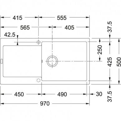 Akmens masės plautuvė Franke Maris MRG 611-100 XL,eks. v. 12