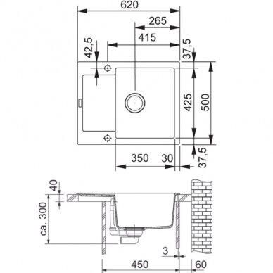 Akmens masės plautuvė Franke Maris MRG 611-62, eks. v. 11