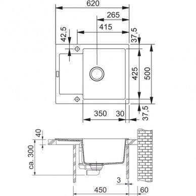 Akmens masės plautuvė Franke Maris MRG 611-62, eks. v. 3