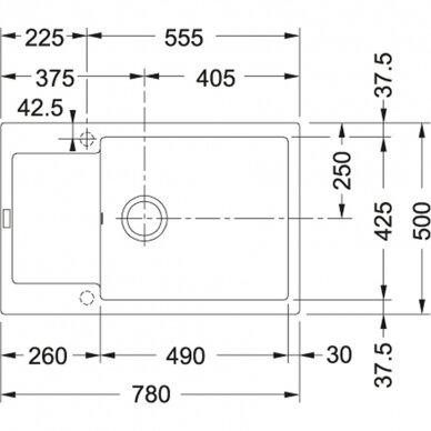 Akmens masės plautuvė Franke Maris MRG 611-78 XL, eks. v. 11