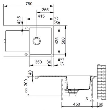 Akmens masė plautuvė Franke Maris MRG 611, eks. v. 3