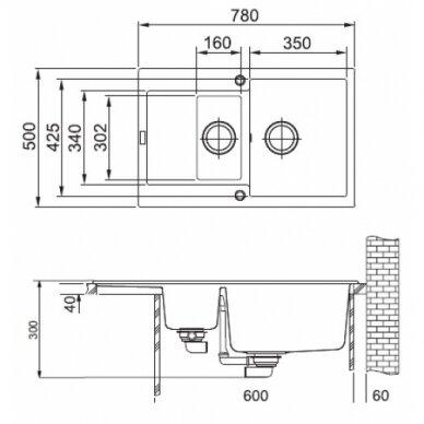Akmens masės plautuvė Franke Maris MRG 651-78, eks. v. 3