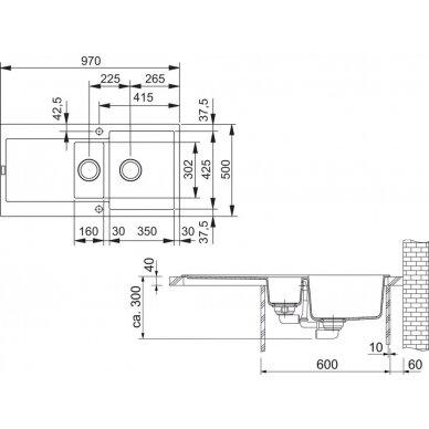 Akmens masės plautuvė Franke Maris MRG 651, eks. v. 3