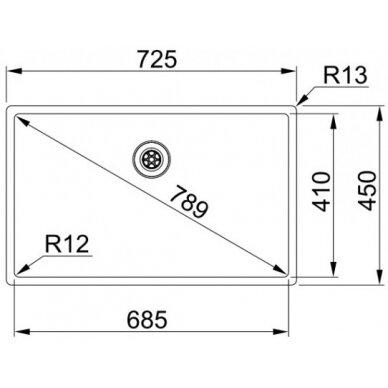 Plieninė plautuvė Franke BOX BXX 210/110-68, eks. v. 2
