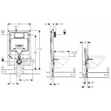 Potinkinis rėmas unitazui Geberit Duofix 112cm, storis 8cm 2