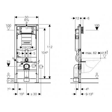 Geberit Duofix potinkinis WC rėmas su distanciniais laikikliais 2