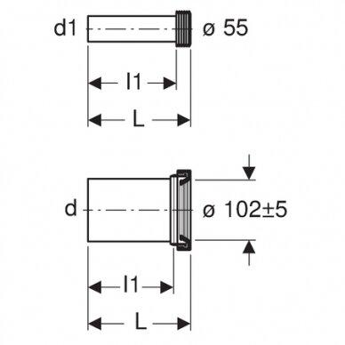 Geberit HDPE WC išbėgimo pajungimo komplektas, ilgis 18,5 cm 2