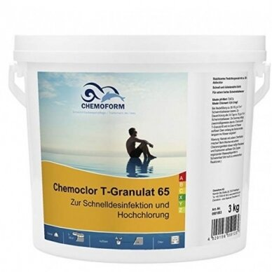 Greito tirpimo chloras Chemoform chemoclor T-65 granulės, 5kg