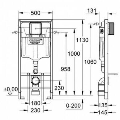 Grohe potinkinis WC rėmas Rapid SL 5in1 3