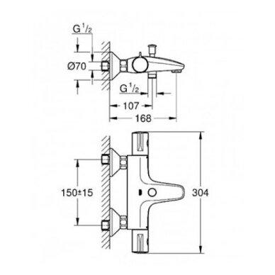 Grohe termostatinis vonios/dušo maišytuvas Grohtherm 800 5