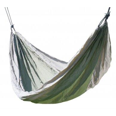 Hamakas Cattara Nylon – žalias-rudas 275 x 137 cm