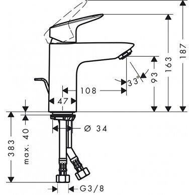 Maišytuvas praustuvui Hansgrohe Logis 100 su uždarymo ventiliu 3