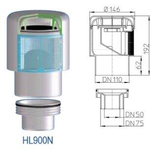 Alsuoklis HL900N su perėjimu į DN50/75