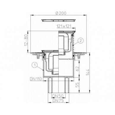 Trapas vidaus patalpoms HL310N-3000 su nerūdijančio plieno porėmiu 2