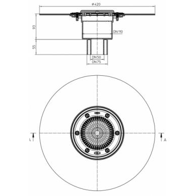 Trapo korpusas HL310NKH, serija HL310, vertikalus ketiniam vamzdžiui pajungti 2