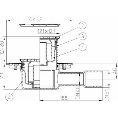 """Trapas vidaus patalpoms HL510NPr-3125 su """"sausu"""" sifonu Primus ir grotelės 3"""