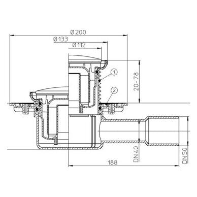 Trapas HL510NR  su apskritomis nerūdijančio plieno grotelėmis 2