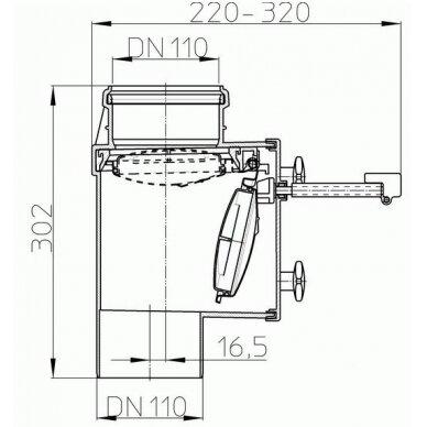 Kanalizacijos atbulinis vožtuvas HL710.1V vertikaliam montavimui 2