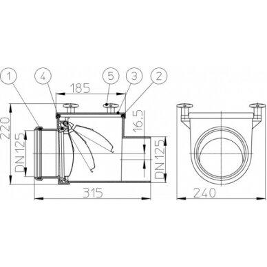 Kanalizacijos atbulinis vožtuvas HL712 su nerūdijančio plieno užsklanda 2