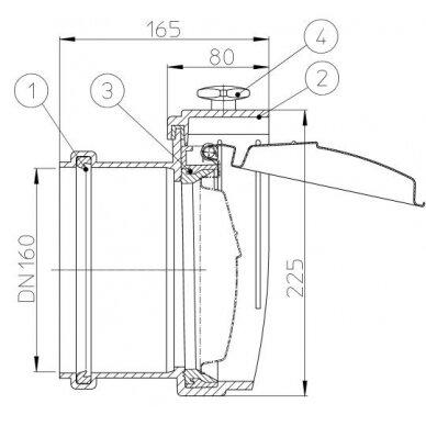 Kanalizacijos atbulinis vožtuvas HL715.0 su profiliuoto nerūdijančio plieno užsklanda 2