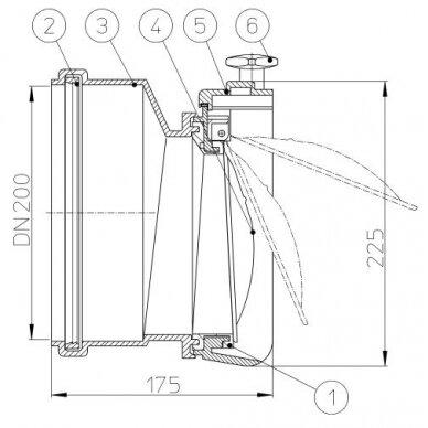 Kanalizacijos atbulinis vožtuvas HL720.0 su profiliuoto nerūdijančio plieno užsklanda 2