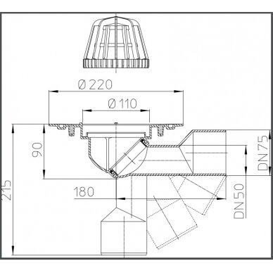 Įlaja stogui HL80.3 su lapų gaudykle, pasukamu šarnyru DN50/75 2