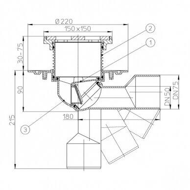 Trapas balkonams ir terasoms HL81G su porėmiu ir grotelėmis iš ketaus 2