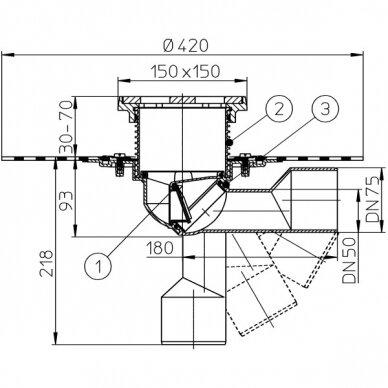 Trapas balkonams ir terasoms HL81GH kaip ir HL81G, tik su bituminiu lakštu 2