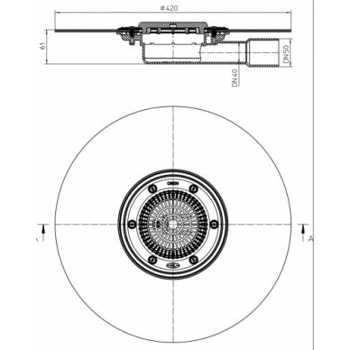 Trapo korpusas HL90KH trapų serijai HL90 su bituminiu flanšu 2