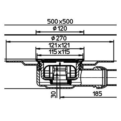 Trapas vidaus patalpoms HL90PrD-3000 kaip ir HL90PrD, tik su nerūdijančio plieno porėmiu 2