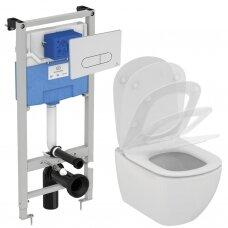Ideal Standard komplektas: WC rėmas ir klavišas, klozetas ir dangtis