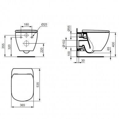 Ideal Standard komplektas: WC rėmas ir klavišas, klozetas ir dangtis 5