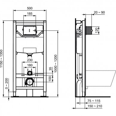 Ideal Standard komplektas: WC rėmas ir klavišas, klozetas ir dangtis 6