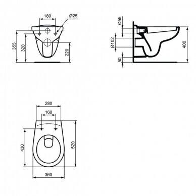 Ideal Standard komplektas: WC rėmas su klavišu, klozetas su dangčiu 6