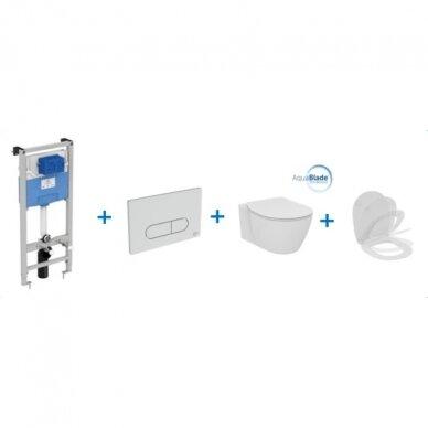 Ideal Standard komplektas: WC rėmas su klavišu, klozetas su dangčiu 2
