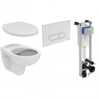 Ideal Standard komplektas: WC rėmas su klavišu, klozetas su dangčiu