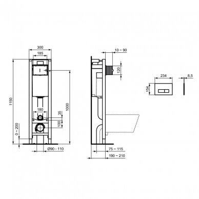 Ideal Standard komplektas: WC rėmas su klavišu, klozetas su dangčiu 5