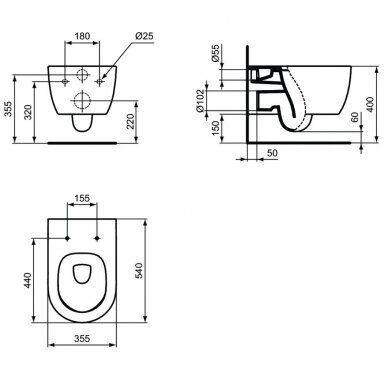 Ideal Standard komplektas: WC rėmas su klavišu, unitazas su dangčiu 7