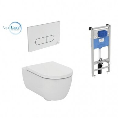 Ideal Standard komplektas: WC rėmas su klavišu, unitazas su dangčiu
