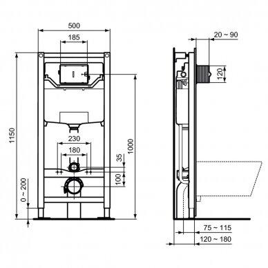 Ideal Standard komplektas: WC rėmas su klavišu, unitazas su dangčiu 8