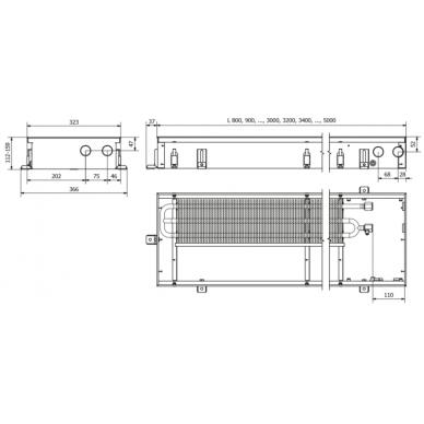 Įleidžiamas grindinis konvektorius FC 80x32x11 3