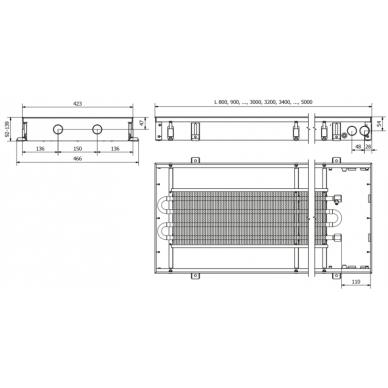Įleidžiamas grindinis konvektorius FC 80x42x9 2
