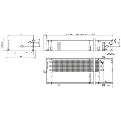 Įleidžiamas grindinis konvektorius FC 90x32x15 2