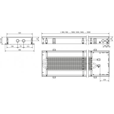 Įleidžiamas grindinis konvektorius FC 90x32x9 2