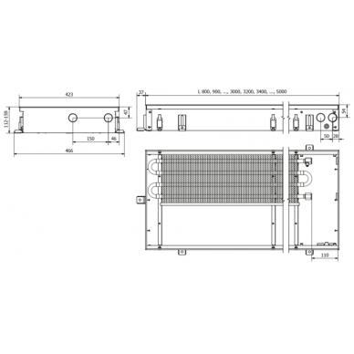 Įleidžiamas grindinis konvektorius FC 90x42x11 3