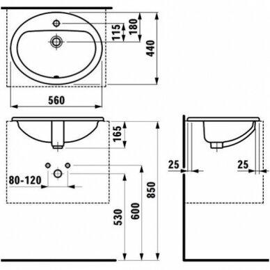 Praustuvas Laufen Pro B 56 cm 4