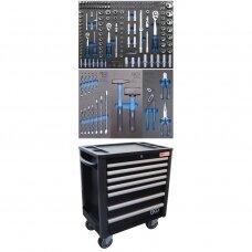 Įrankių spintelė su ratukais BGS-technic, 7 stalčiai, su 209 įrankiais