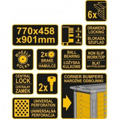 Įrankių spintelė ant ratukų Vorel su 6 stalčiais (58539) 4