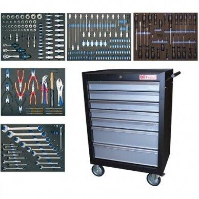 Įrankių spintelė BGS-technic, 7 stalčiai su 243 įrankiais 2