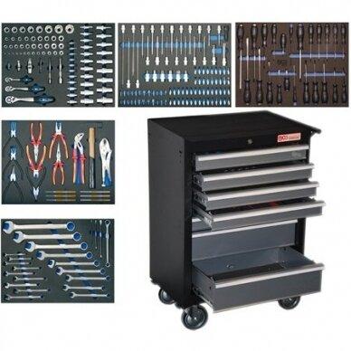 Įrankių spintelė BGS-technic, 7 stalčiai su 243 įrankiais